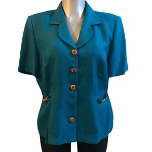 NEW Leslie Fay Short Sleeve Blazer Teal XL Button